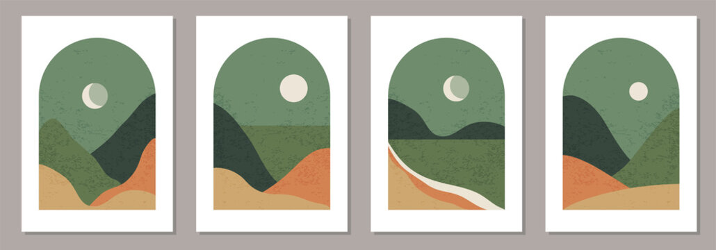 Set of trendy minimalist landscape abstract contemporary collage designs