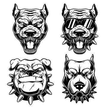 Set of Illustrations of angry dog heads in monochrome style. Design element for logo, emblem, sign, poster, card, banner. Vector illustration