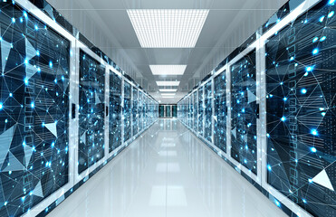 Fototapeta Connection network in servers data center room storage systems 3D rendering