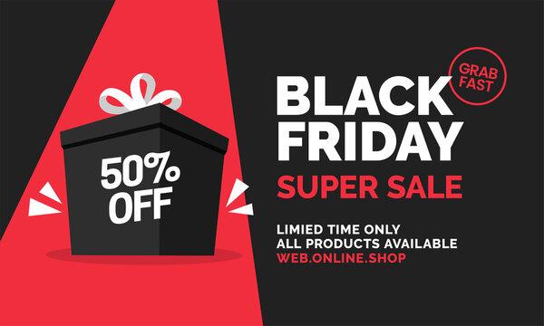 Black friday super sale with big gift prize box vector illustration social media web banner template design