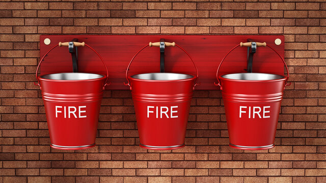 Vintage fire buckets hanging on the wall. 3D illustration