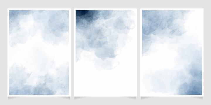 indigo watercolor wet wash splash 5x7 invitation card background template collection