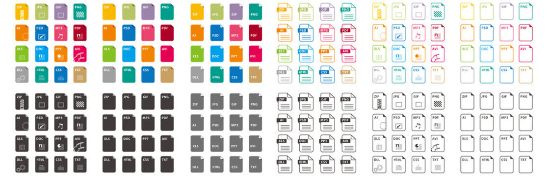 set of file icons isolated vector