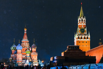 St. Basil's Cathedral on red Square in Moscow in Russia at night