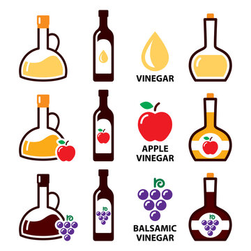 Vinegar vector icon set - apple cider vinegar and balsamic vinegar color design, healthy food concept