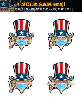 Uncle Sam Emoji - Expression Set - Surgical Mask - Index Finger Up