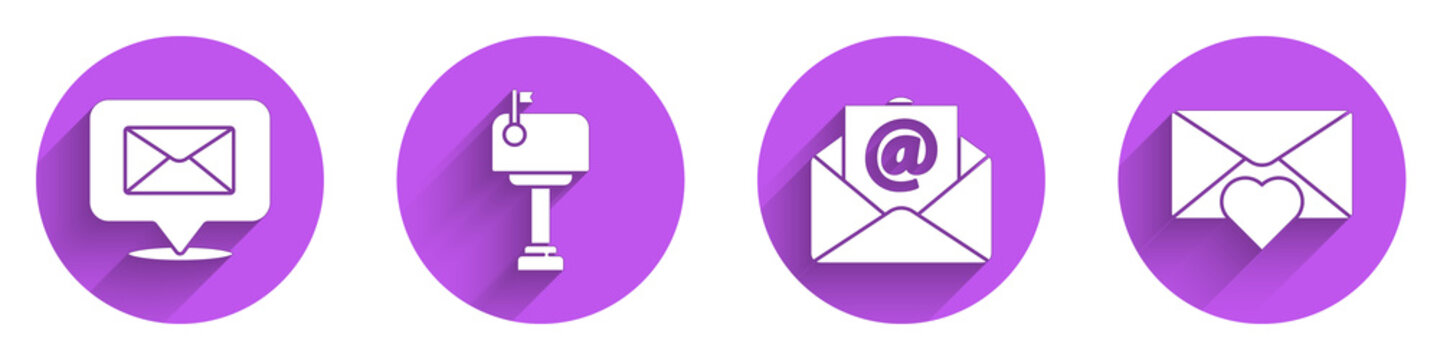 Set Speech bubble with envelope, Mail box, Mail and e-mail and Envelope with Valentine heart icon with long shadow. Vector.