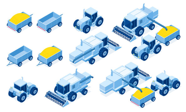 Isometric tractor machinery for grain and hay harvest, industrial and agricultural vehicles for farming works, 3d vector illustration set