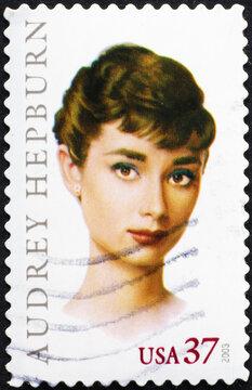 Audrey Hepburn on american postage stamp