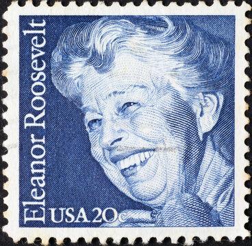 Eleanor Roosevelt on american postage stamp