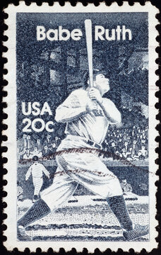 Babe Ruth on old american postage stamp