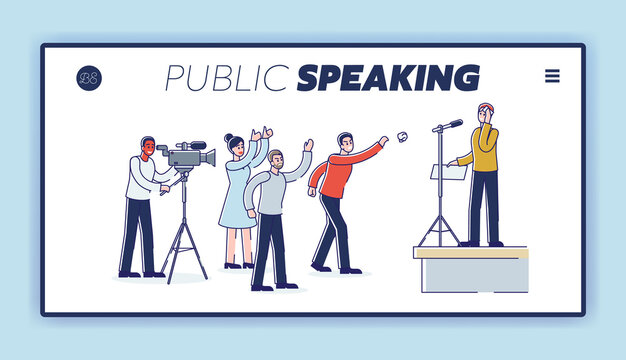 Speaking to angry public audience landing page with man presenting in front of furious people
