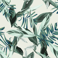 Foliage seamless pattern, heliconia Ctenanthe oppenheimiana plant and palm leaves in green tone on bright green