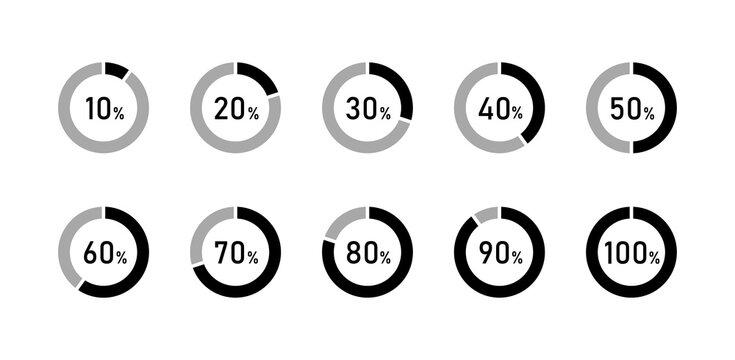 円グラフ、割合のアイコンのセット/数字/%/データ/分析/率/百分率