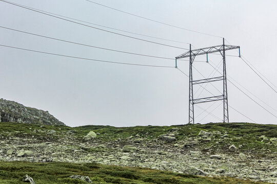 View on power pole from Veslehødn Veslehorn to Norwegian landscape.