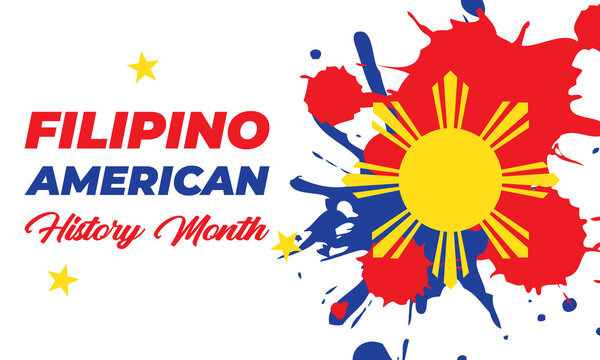 Filipino American History Month (FAHM) is celebrated in the United States during the month of October. Holiday concept.Poster, card, banner, template. V