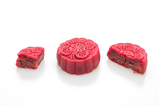 Chinese moon cake strawberry red bean flavour
