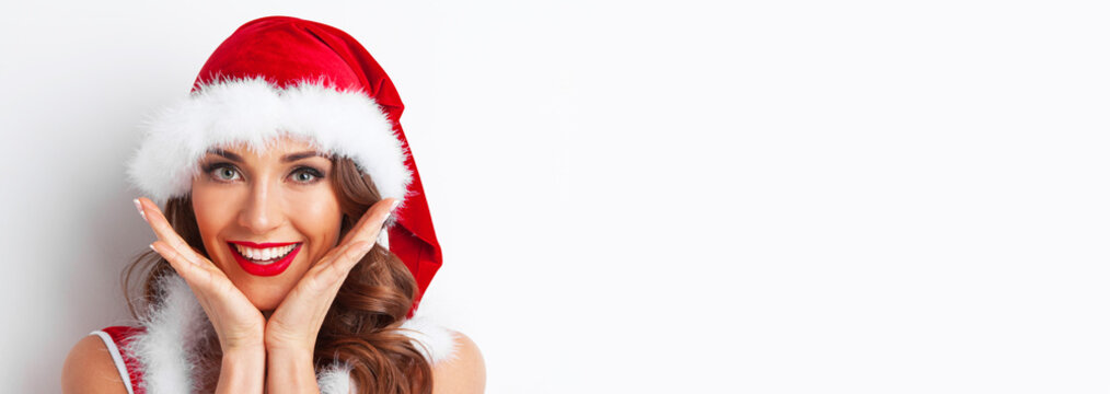 Surprised Christmas woman portrait