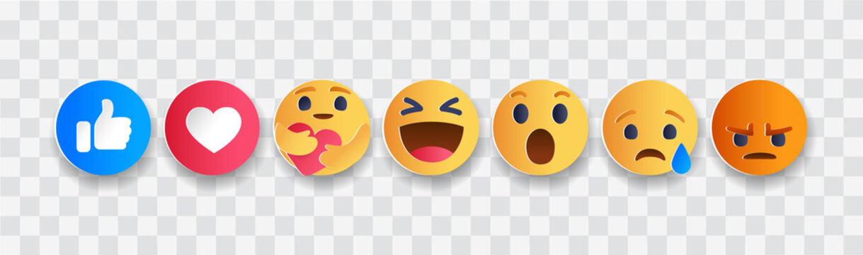 September 21, 2020: Set of Facebook Empathetic Emoji Reactions, paper cut design