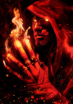 A man magician with bright fiery glowing eyes folded his hands finger to finger, from which the flame is streaming, he looks directly at the viewer. 2D illustration