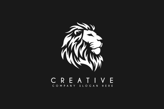 Lion head logo design vector illustration isolated on black background