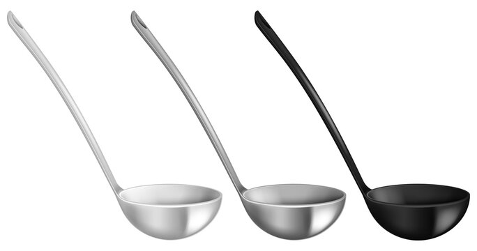 Set of stainless ladles isolated on white background. Vector illustration.