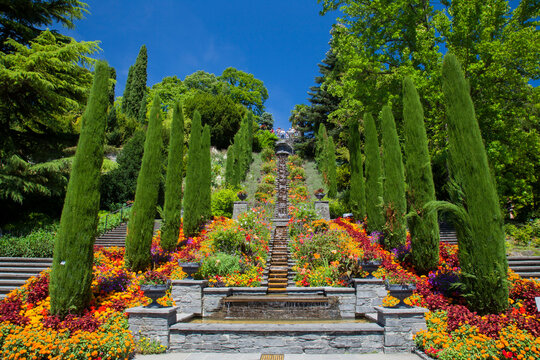 Italy Flower stairs and bed of flowers, Mainau Island, Baden-Württemberg, Germany, Europe