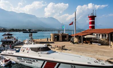 Coast Guard Boat at anchor Kemer marina. Kemer, Turkey - September 18, 2020