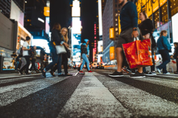 Time square at night, blurried concept photo in New york Fotomurales