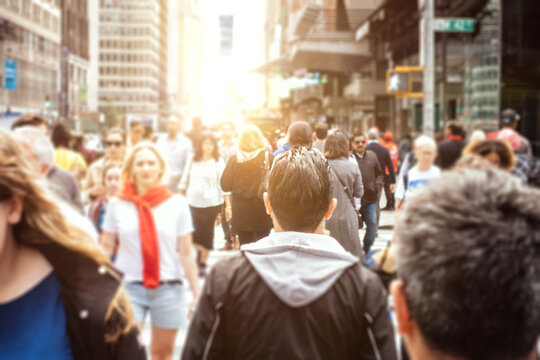 Mass of people walking  in New rork city, concept about urban life