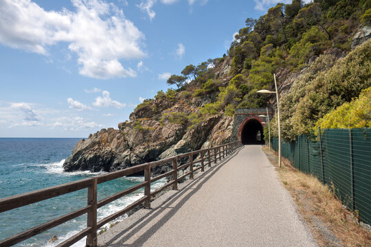 Liguria, Italy: former railway track  transformed into a promenade and bicycle lane, connecting Varazze and Cogoleto: the lungomare or passeggiata Europa