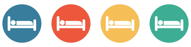 Bunter Banner mit 4 Buttons: Hotel, Bett, Kabine oder Krankenhaus