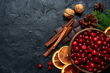 Christmas culinary background with winter spices and ingredients for baking. Top view with copy space.