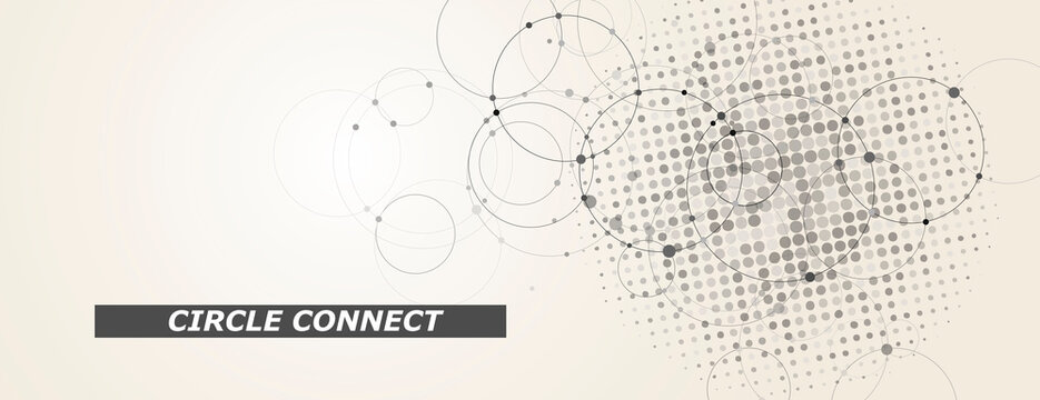Circle connect in flat style. Halftone dots background. Circle halftone pattern. Vector cover