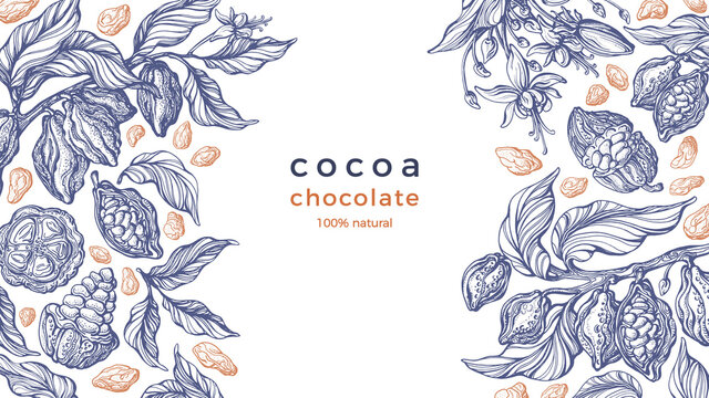 Cocoa frame. Vector background Art hand drawn card