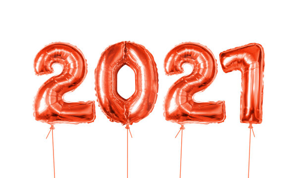 2021 number red foil helium balloon. Realistic inflated balloons isolated on white backdrop. Holiday gift. Festive decor element for happy new year 2021 holiday