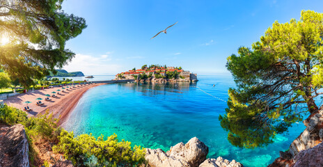 Sveti Stefan island, wonderful view from the rock, Budva riviera, Montenegro
