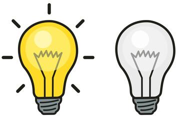 Glühbirne ein und ausgeschalten Grafik Set