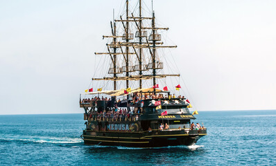 Frigate Medusa ship pirate vintage Boat Tour. Kemer, Antalya Province, Turkey - September 18, 2020