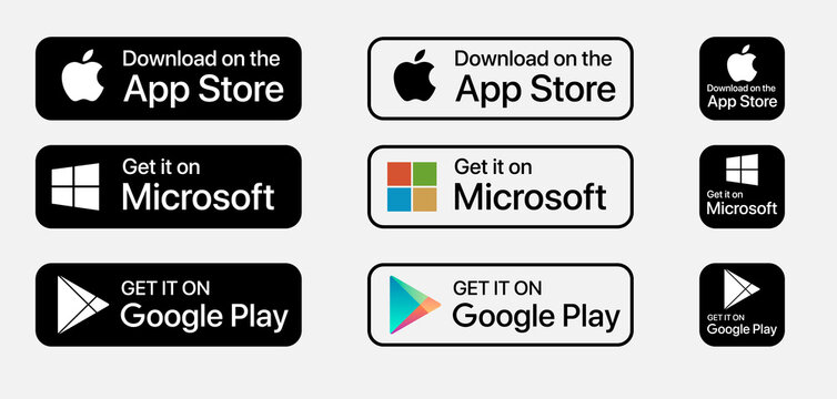Apple App store, Microsoft store, Google Play store, download App buttons. Isolated black and white icons set on white background.