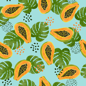 Tropical pattern with watercolor papaya and palm leaves. Vector seamless fruit illustration.
