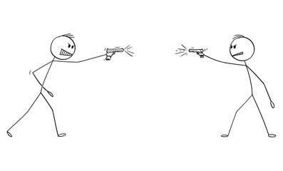 Vector cartoon stick figure drawing conceptual illustration of two dangerous angry men shooting a weapon, gun handgun or pistol at each other.