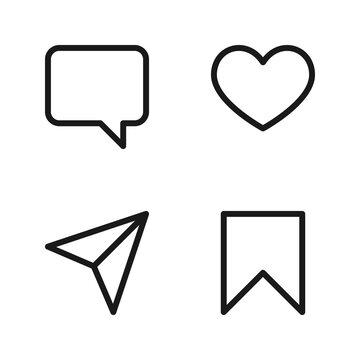 Collection of icon comment, like, share, and save vector illustration