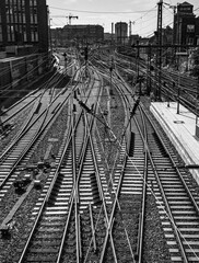 HAMBURG, GERMANY - SEP 15, 2020: Rows of rails in perspective and traditional architecture, Hambug, Germany