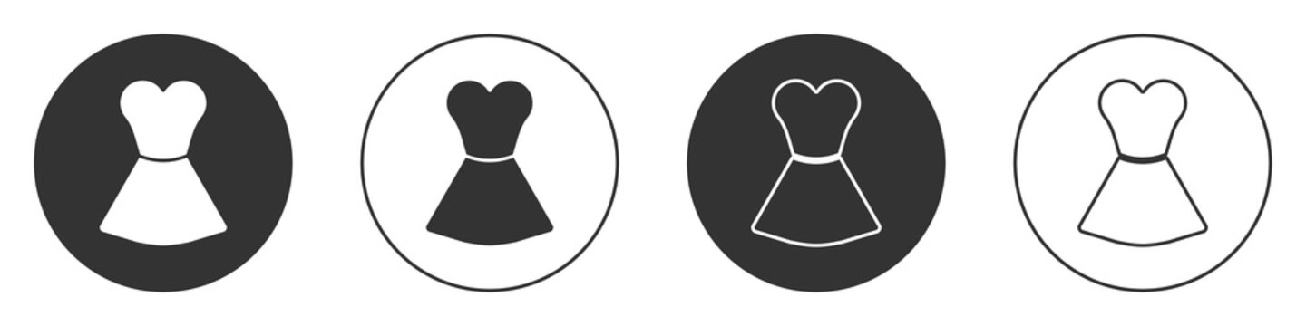 Black Woman dress icon isolated on white background. Clothes sign. Circle button. Vector.
