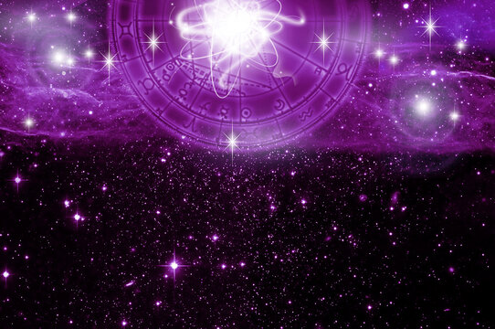 horoscope with zodiac and planets symbols over purple universe background with stars like astrology concept