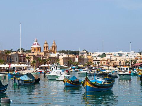 View of the port in Marsaxlokk, Malta