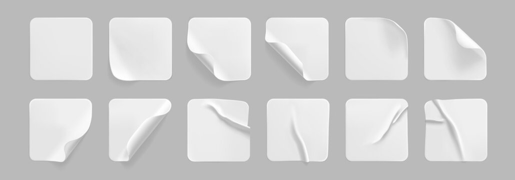 White square glued stickers with curled corners mock up set. Blank white adhesive square paper or plastic sticker label with wrinkled, crumpled effect. Blank template label tags. 3d realistic vector