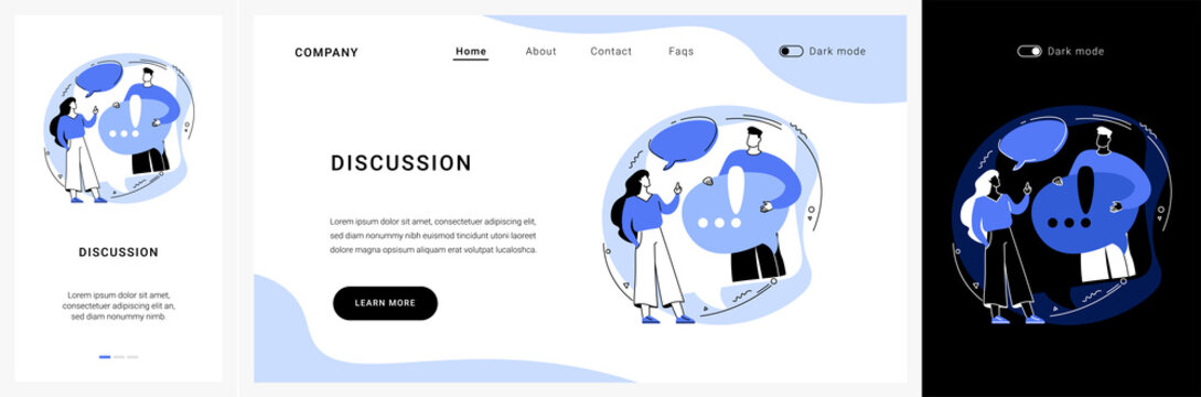 Discussion website UI kit. Customer discussion, share opinion, brainstorming, ask a question, start conversation, business website, menu bar element, UI landing and mobile app vector UI template.