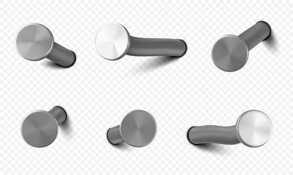 Nails hammered into wall, steel or silver pin heads, straight and bent metal hardware spikes or hobnails with grey caps top view isolated on transparent background. Realistic 3d vector icons set